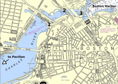 The path to Boston Harbor on NOAA chart 13272, Boston Inner Harbor, showing 1.) the old lock, 2.) the MBTA  railroad bridge, and 3.) the current lock.