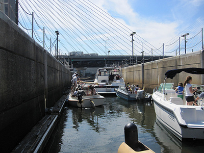 The lock filled with boats, including a Lynx 16.
